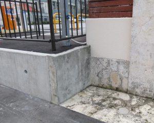 コンクリート表面被覆工法と琉球石灰岩コーティングの施工前