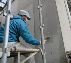 コンクリート打ちっぱなしの復元リフレッシュ施工中