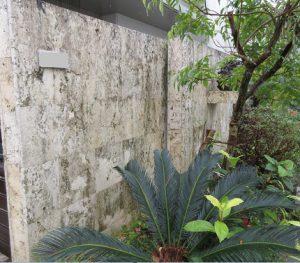 琉球石灰岩を改質強化・黒カビ防止の浸透性コーティング施工前