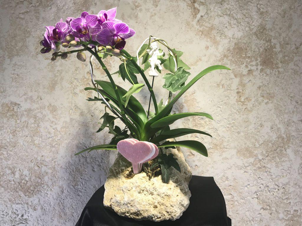 琉球石灰岩アレンジメント 贈答品 結婚記念日